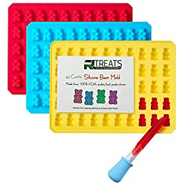 "RL Treats 50 Cavities Silicone Gummy Bear Molds with Dropper (3-Pieces) 15 Set of 3 x 50 cavities, making 150 yummy gummy bears at a time. Size: each tray is 7.5"" x 5.5"", each cavity is 0.8"" x 0.5"" x 0.4"". Perfect to make gummy bears, chocolate treats, candy bears, jelly, Ice cubes and mix your own ingredients for a healthy alternative snacks."