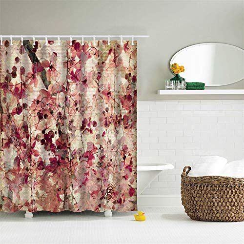 72 x 72 inches Fabric Shower Curtain with Hooks Beautiful Pink Burgundy Flowers Leaves Tree Branch Pink Florals Brown Leaves Bathroom Decor Waterproof Machine Washable (Burgundy Shower Curtain Hooks)