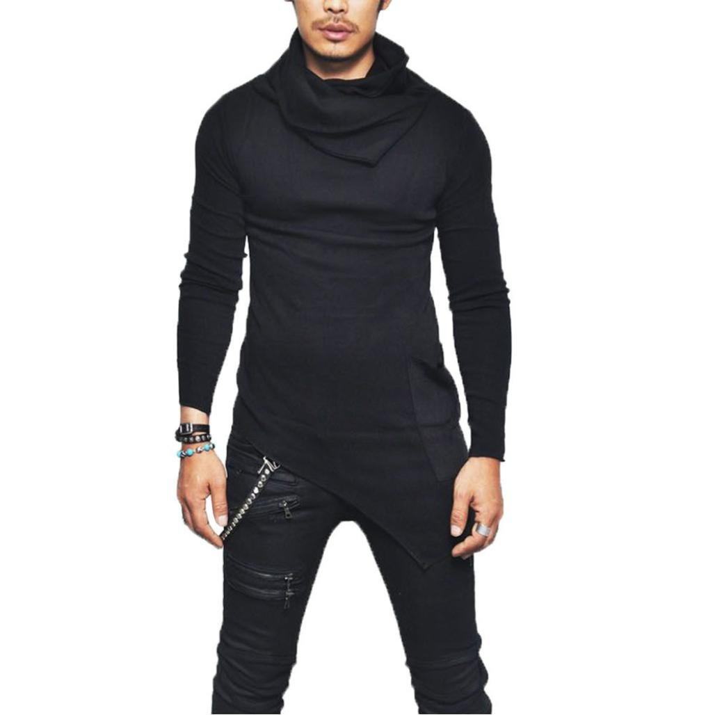WM & MW Hot Top Men's Pullover Slim Fit Tuetleneck Long Sleeve Cotton Irregular Muscle Tee T-shirt Casual Tops (M=(US:S), Black) by WM & MW