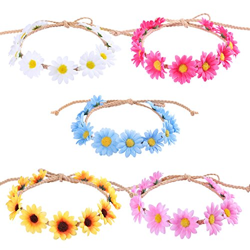 Whaline 5 Pack Flower Headband Sunflower Hair Wreath Women Girl Floral Headpiece -