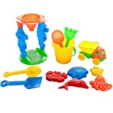 Andalus Kids Beach Toys Set, 12 Piece Sand Toys with Bucket, Rake, Shovel, Standing Sifter, Dump Truck, Sand Molds, Assorted Colors