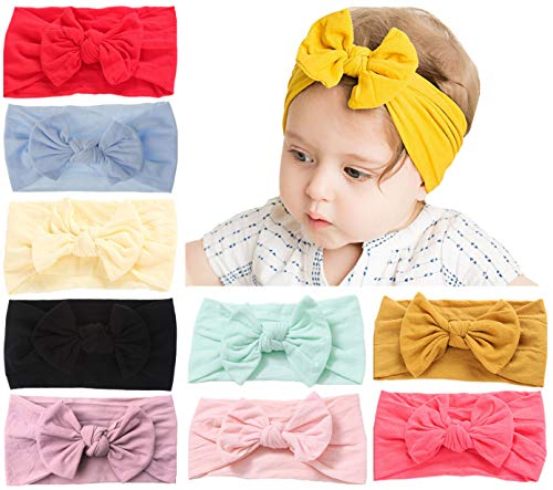 Qandsweet Soft Nylon Hairbands Baby Headbands and Bows For Newborn Infant Toddlers Girl Kids ()