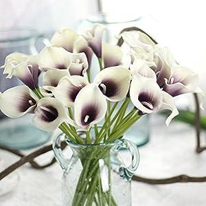 Yu2d  6 PC Artificial Calla Lily Fake Flower Wedding Home Decor Bouquet (Multicolor) 80