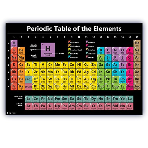 Periodic Table Science Poster Laminated Chart Teaching Elements Classroom Black Decoration Premium Educators Atomic Number Guide 15x20