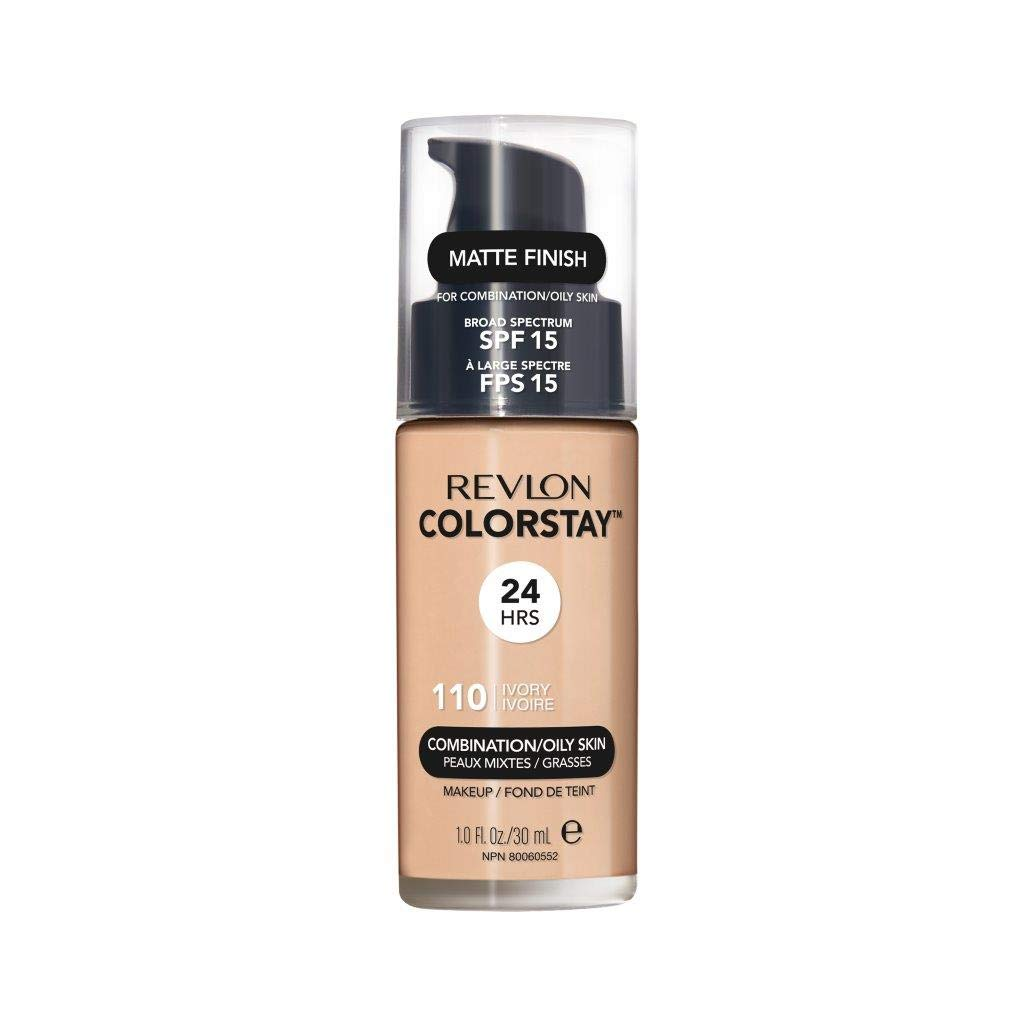 Revlon ColorStay Liquid Foundation Makeup for Combination/Oily Skin SPF 15, Longwear Medium-Full Coverage with Matte Finish, Ivory (110), 1.0 oz