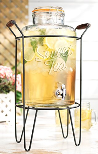 American Reproductions 2 Gallon Glass Beverage Dispenser with Locking Clamp Bail & Trigger Spigot in Metal Caddy with Handle. (Sweet Tea) - Handles Iced Tea Dispenser
