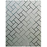 Arthome 23.6 x100 inch Privacy Window Glass Films No Glue  Frosted Static Cling UV Protection Heat Control Home Decorative for Living Room Bathroom Bedroom Kitchen Office (60 x 254 CM,AHS159)