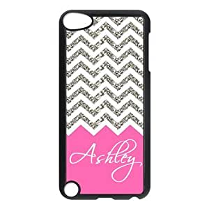 Design For You Colorful Coral Plus Chevron Monogrammed - Personalized IPOD TOUCH 5 Durable Case Without Glitter