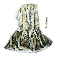 Plush Throw - Luxurious GrayTan and Brown Wolf - Premium Quality Faux Fur - Designer Throw Blanket - Soft Minky Cuddle Fur Lining (2'x4')