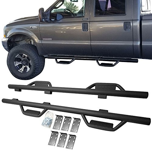 Nerf Bar Fits 1999-2016 Ford F-250 SD Crew Cab | V1 Style Side Step Bar Running Boards Black by IKON MOTORSPORTS | 2000 2001 2002 2003 2004 2005 2006 2007 2008 2009 2010 2011 2012 2013 2014 2015 (Style Steps Side)