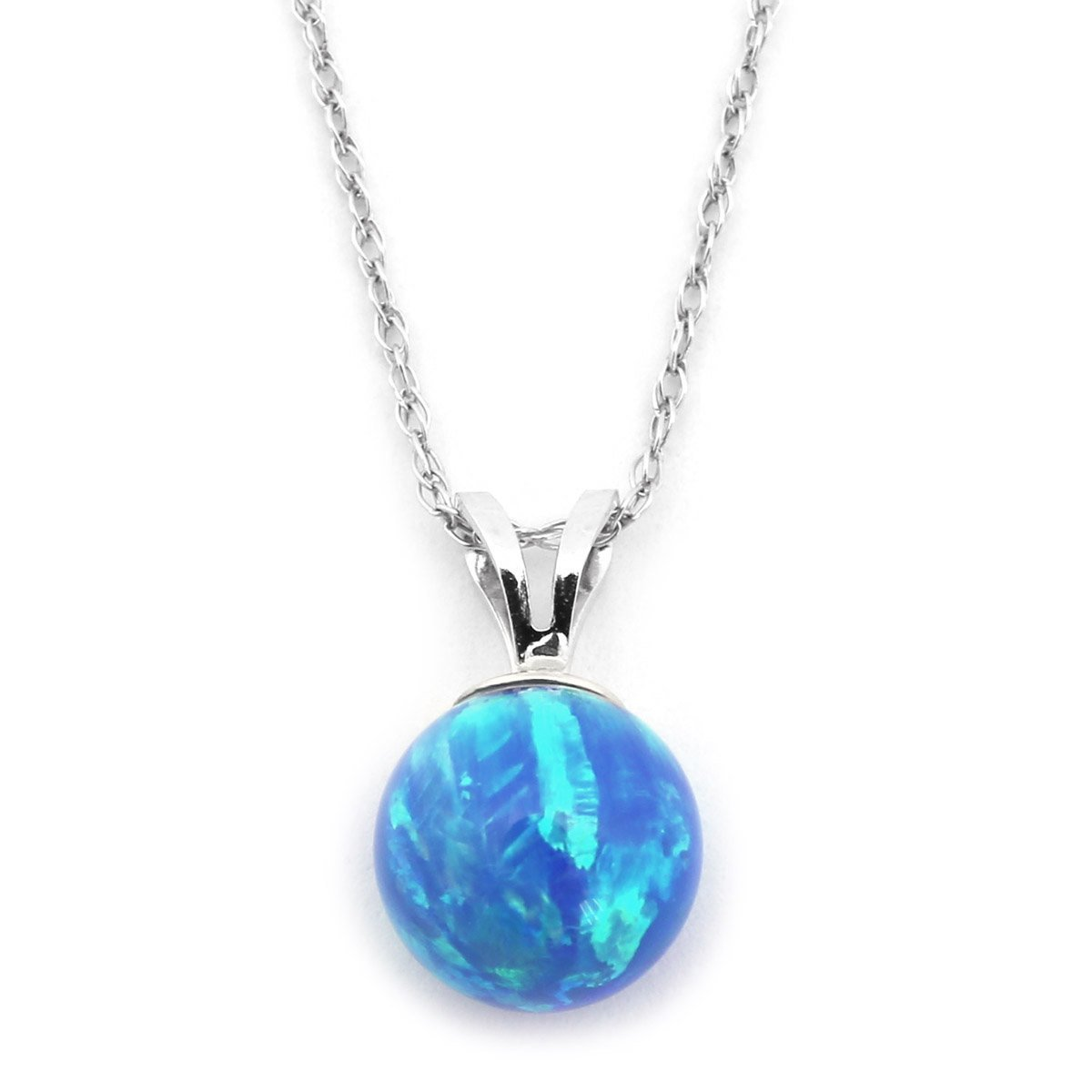 14k Yellow or White Gold 10 Millimeter Blue Simulated Opal Pendant Necklace