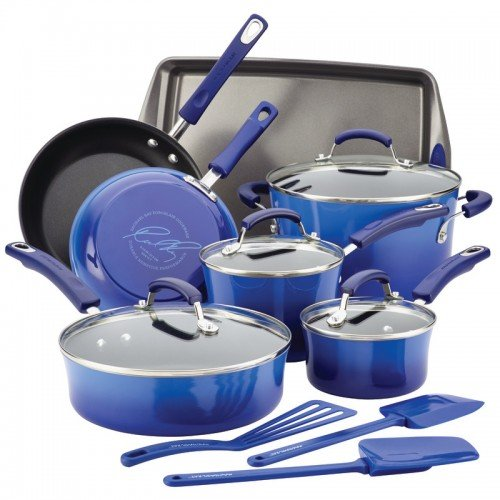 Rachael Ray Hard Porcelain Enamel Nonstick Cookware Set, 14-Piece, Blue Gradient