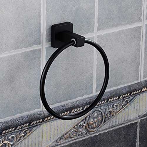 タオルリング 現代のシンプルさ壁に取り付けられた黒いスペースのアルミニウムバスルームタオルリングタオルフック