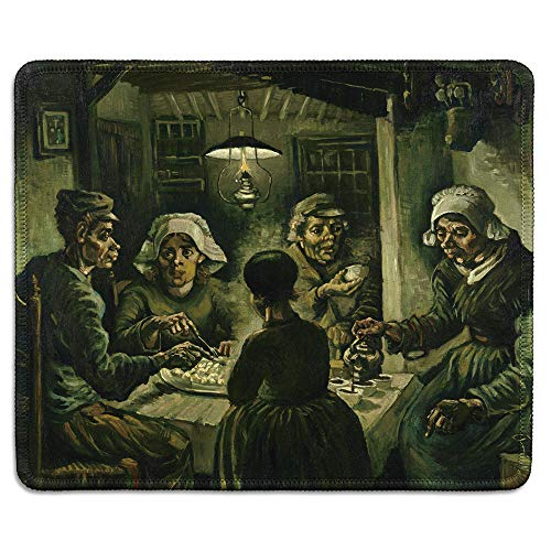 dealzEpic - Art Mousepad - Natural Rubber Mouse Pad with Famous Fine Art Painting of The Potato Eaters by Vincent Van Gogh - Stitched Edges - 9.5x7.9 inches