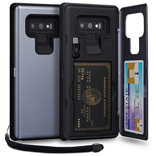 TORU CX PRO Note 9 Wallet Case Blue with Hidden ID Slot Credit Card Holder Hard Cover, Strap, Mirror & USB Adapter for Samsung Galaxy Note 9 (2018) - Orchid Gray