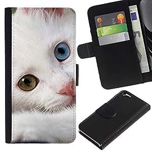 KLONGSHOP // Tirón de la caja Cartera de cuero con ranuras para tarjetas - Noruego Gatito del gato del bosque de Devon - Apple Iphone 6 //