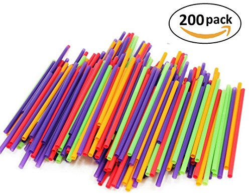 Price comparison product image 200-Count Drinking Straws for Cold Drinks, Milkshakes and Healthy Drinks | Colored, Disposable, Recyclable | Kid-Friendly, Assorted Colors (Colors may Vary)
