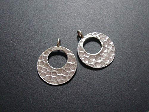 2 pcs, 18x13mm, Fine Silver, Solid Sterling Silver, Karen Hill Silver Handmade Antiqued Hammered Pendant, Earrings, Charm findings, PC-0181