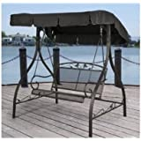 Outdoor Porch Swing Deck Furniture with Adjustable Canopy Awning. Weather Resistant Wrought Iron Metal Frame : canopy porch swing - memphite.com