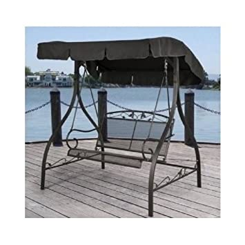 Outdoor Porch Swing Deck Furniture With Adjustable Canopy Awning. Weather  Resistant Wrought Iron Metal Frame