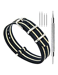 CIVO Watch Bands NATO Premium Ballistic Nylon Watch Strap Stainless Steel Buckle 18mm 20mm 22mm with Top Spring Bar Tool and 4 Spring Bars Bonus (Black/Khaki, 20mm)