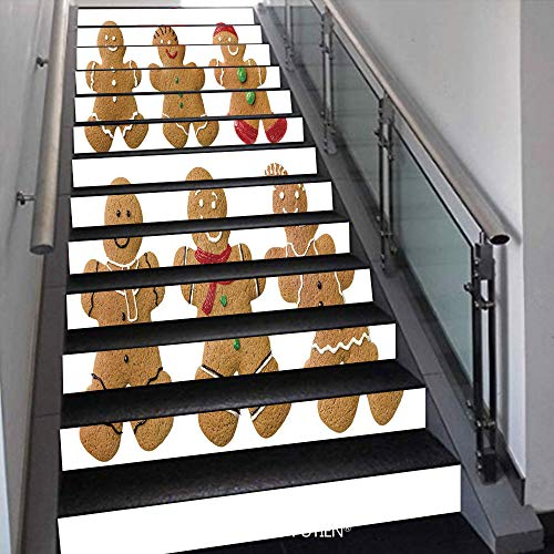 - PUTIEN Popular Stair Stickers Wall Stickers,13 PCS Self-Adhesive [ Gingerbread Man,Vivid Homemade Biscuits