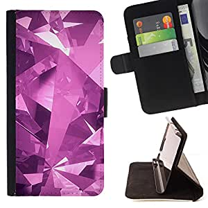 - Polygon Purple Crystal Modern - Estilo PU billetera de cuero del soporte del tir???¡¯???3n [solapa de cierre] Cubierta- For Apple Iphone 4 / 4S ( Devil Case )