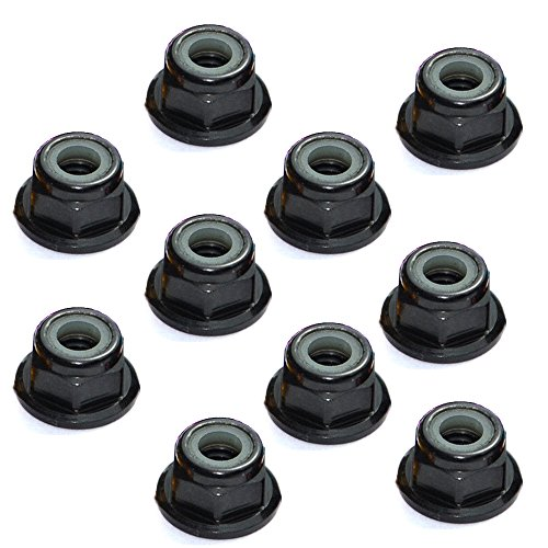 Lock Flanged Aluminum Nut (10 Pcs Aluminum Self-lock Nuts Flanged Nylon Lock Nut for RC Car (M4, Black))