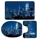 3 Piece Bath Mat Rug Set,Cityscape,Bathroom Non-Slip Floor Mat,Kuala-Lumpur-Skyline-Night-KLCC-Twin-Towers-Malaysian-Landmark-Monochromic-Photo,Pedestal Rug + Lid Toilet Cover + Bath Mat,Navy-Black