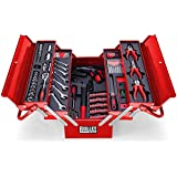 Bullet Pro 118 Piece Cantilever Tool Box Cabinet Chest Kit, with Cordless Screwdriver, Red