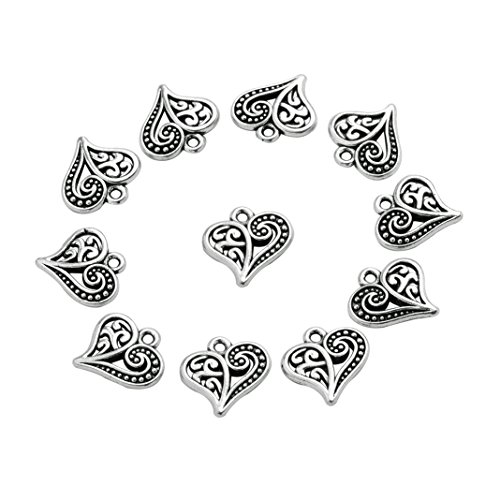 20 Pieces Cute Style Hearts Lucky Charms Reversible Findings Jewelry Pendants Necklaces Making 14 X ()