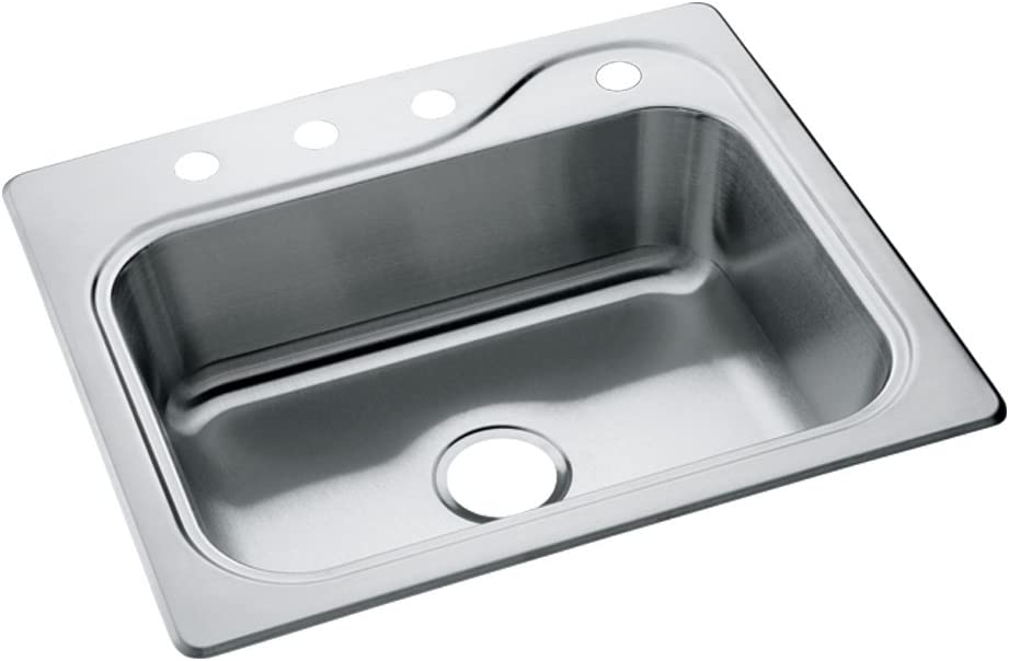 STERLING 11405-4-NA Southhaven 25-inch by 22-inch Top-mount Single Bowl Kitchen Sink, Stainless Steel