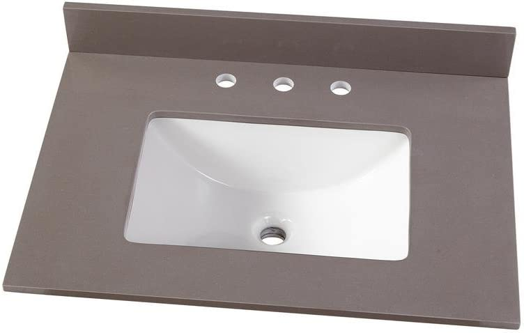 Home Decorators Collection 31 in. W x 22 in. D Engineered Marble Vanity Top in Slate Grey with White Single Trough Sink
