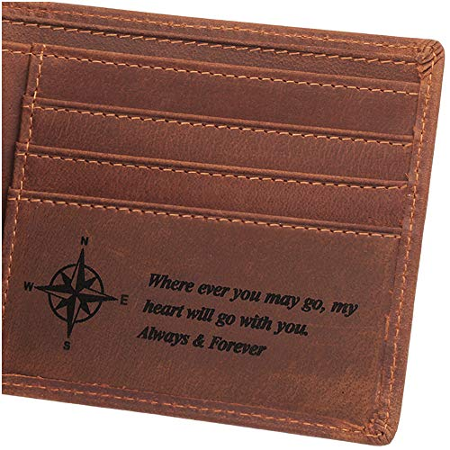 Always and Forever, Personalized Engraved Wallet for Men, Personalized Gifts for Men, Birthday Gifts for Men, Mens Leather Wallet for Anniversary Gifts, Man Gifts Ideas (Personalized Leather Engraved)
