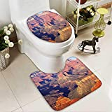 SOCOMIMI Non Slip Bathroom Rugs Epic South West Canyon Before Sunrise Tribal Ethnic National Landmark Wilderness Brown Absorbent Cover