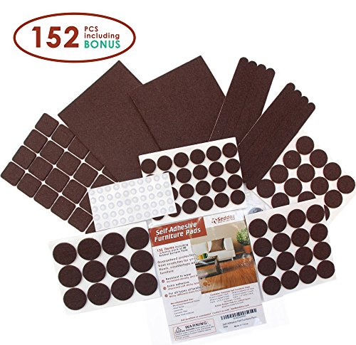 Seddox PREMIUM Felt Furniture Pads Set - 152 pieces Including Bonus Rubber Bumper Pads - Self Stick Extra Adhesive Hardwood Floor Protectors, Felt Pads for Furniture Feet Brown (Glass Table Top Repair Kit compare prices)