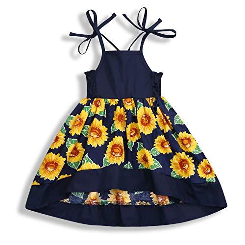 ZOELNIC Baby Girls Rainbow Dress Toddler Princess Sleeveless Halter Beach Tutu Sundress (Navy Blue, 1-2 Years)]()