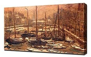 Monet - El Geldersekade de Amsterdam en Invierno, 1871-74 - Impresión En Lienzo - Impresión Fine Art