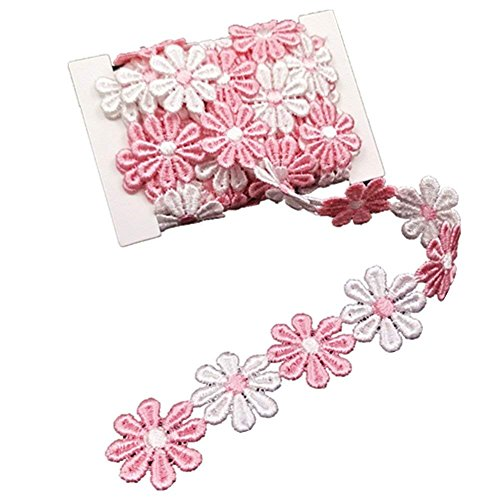 YEQIN 3 Yard Daisy Flower Sun Flower Decorating Lace and Trims for Sewing and Craft Projects (style7)