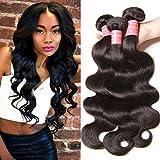 Longqi Beauty Hair Brazilian Body Wave Virgin Hair 3 Bundles Unprocessed Virgin Brazilian Wavy Human Hair Weave Extensions Natural Color 95-100g/pc (20 22 24inch)