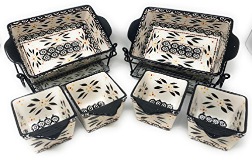 Temp-tations 6pc Mini Bakers - TWO 1.5Qt Loaf Pans & FOUR 10oz Ramekins (Old World Black)
