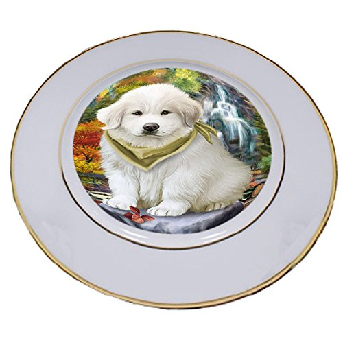 Scenic Waterfall Great Pyrenees Dog Porcelain Plate ()