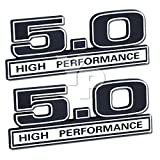 5.0 Liter 302 Engine High Performance Emblems in Chrome & Black - 5'' Long Pair