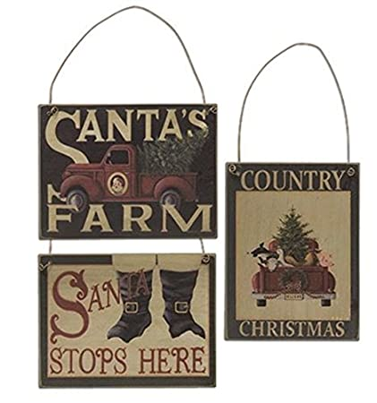 set of 3 christmas wood signs santas farm country christmas santa stops here - Christmas Wooden Signs