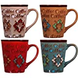 """Home Essentials Assorted Colors 13 Oz. Embossed """"COFFEE"""" Flower Mugs Cups"""