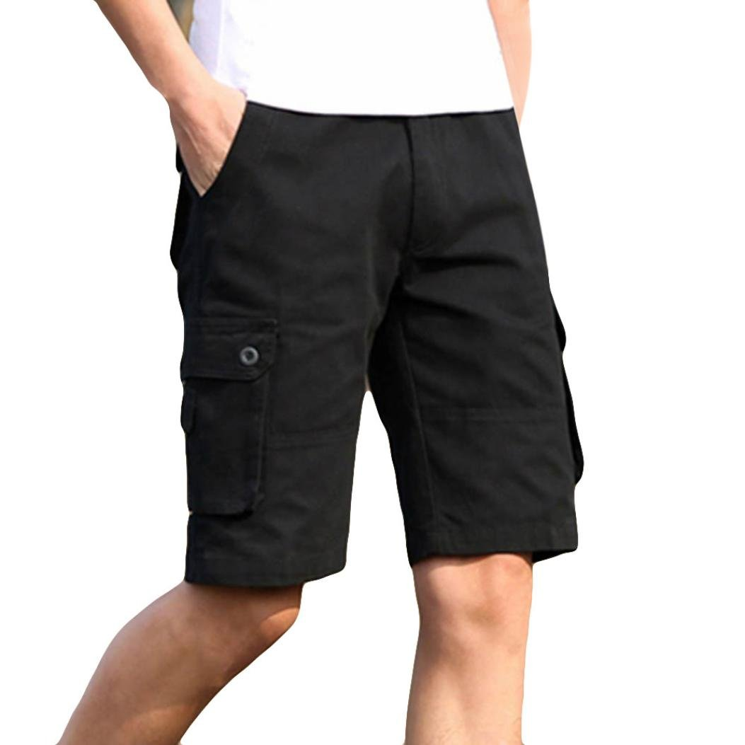 PASATO 2018 New Hot! Classic Fashion Mens Casual Pocket Beach Work, Casual Short Trouser Shorts Pants(Black, 42)