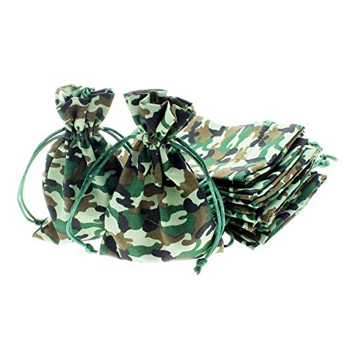 "Linen and Bags 4"" x 6"" Camo Print Natural Cotton Favor Bags with Drawstring for Gifts, Weddings, Jewelry, and Party Favors - Pack of 24 (Jungle Camouflage)"