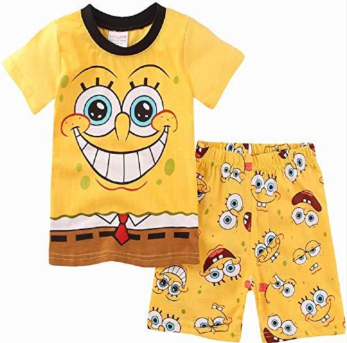 Boys Pajamas 100% Cotton Spongebob Short Kids Snug Fit Pjs Summer Toddler Sleepwear(Spongebob, 2T)]()