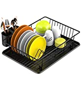 Dish Drying Rack, Veckle Sink Side Dish Rack with Drainboard Cutlery Utensil Holder Dish Drainer ...