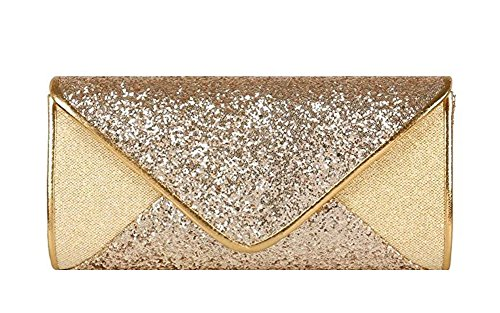 Mesh Bridal Wedding Cocktail Gold Clutch Chicastic Evening Sequin Purse Envelope HqR64nwvx